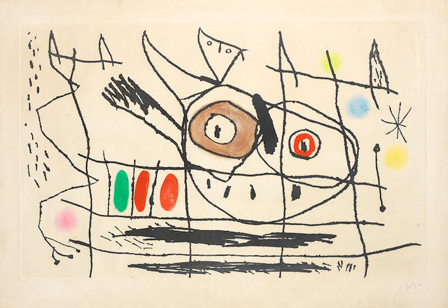 Joan Miró (Spanish, 1893-1983) Soleil Noyé II Aquatint printed in colours, 1962, on Rives, signed and numbered 52/75 in pencil, published by Maeght Editeur, Paris, with wide margins, 218 x 583mm (8 1/2 x 23in)(PL)