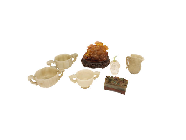 A group of jade and other pieces