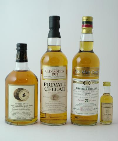 Bladnoch-28 year old-1974<BR /> Glenrothes-1974<BR /> Glencadam-27 year old-1977<BR /> Glencadam-1974 (miniature)