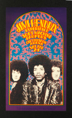 The Jimi Hendrix Experience: A concert poster for the CNE Coliseum Arena, Toronto, Saturday 24th February 1968,