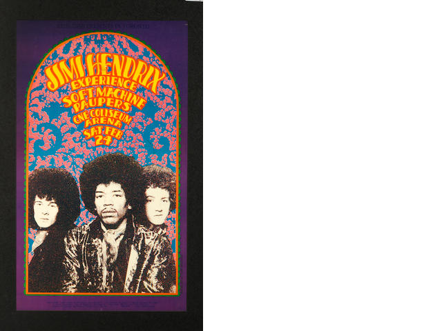 Jimi Hendrix Experience: A concert poster for the CNE Coliseum Arena, Toronto, Saturday 24th February 1968,