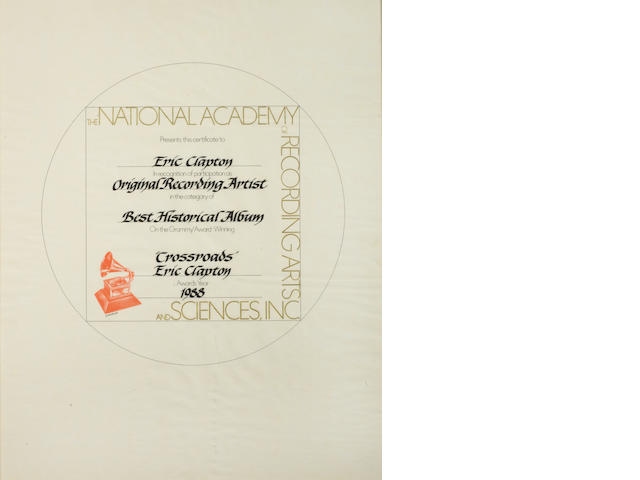 """Eric Clapton: A 'Grammy Award' Certificate of participation for the 'Best Historical Album' for """"Crossroads"""", 1988"""