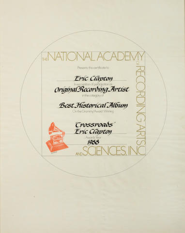"Eric Clapton: A 'Grammy Award' Certificate of participation for the 'Best Historical Album' for ""Crossroads"", 1988"