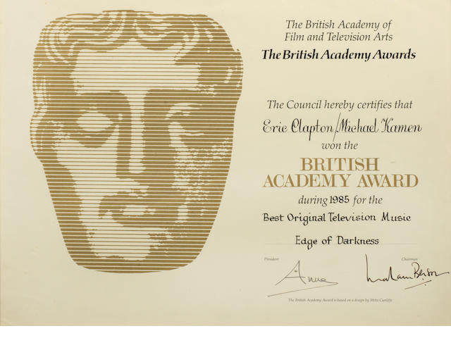 Eric Clapton: A BAFTA award certificate presented for 'Best Original Television Music - Edge of Darkness',  1985,
