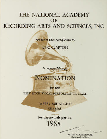 Eric Clapton: A 'Grammy Award' Certificate of Nomination for the single 'After Midnight', 1988,
