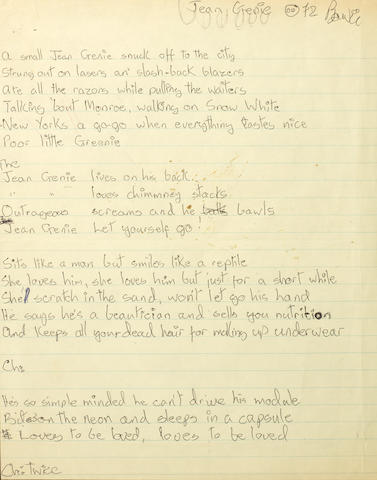 David Bowie: A rare set of handwritten lyrics for The Jean Genie, signed Bowie dated 1972,
