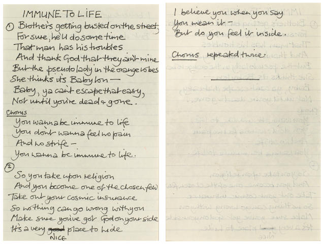 Annie Lennox/ The Tourists: A set of handwritten lyrics for the song 'Immune To Life', late 1970s,