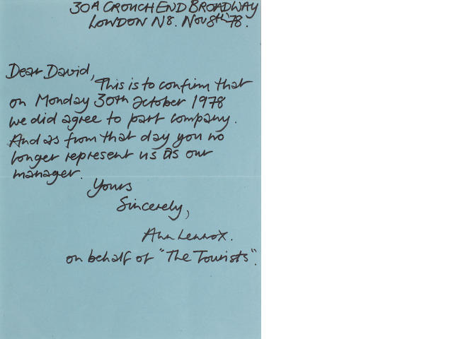 Annie Lennox/ The Tourists: A handwritten letter regarding the groups separation from their manager, dated Nov 8th '78,