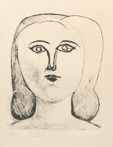 Picasso lithograph, female head no. 47 /50