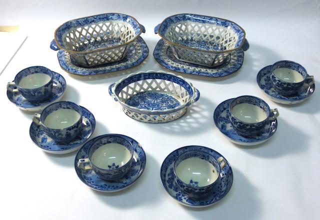 A collection of blue and white pearlware Circa 1800