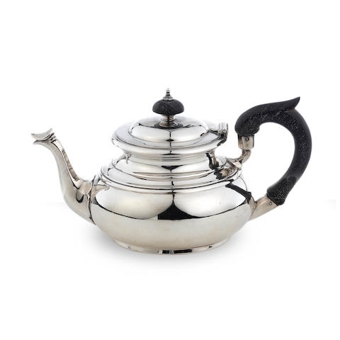 A small Victorian silver teapot C.F, Sheffield 1872  (2)