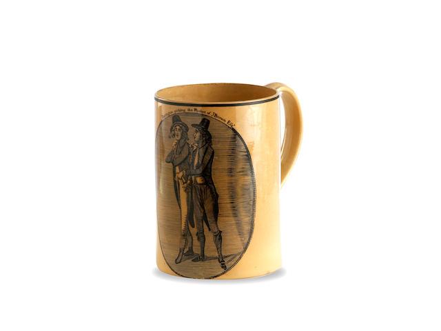 A Barrington creamware mug circa 1790