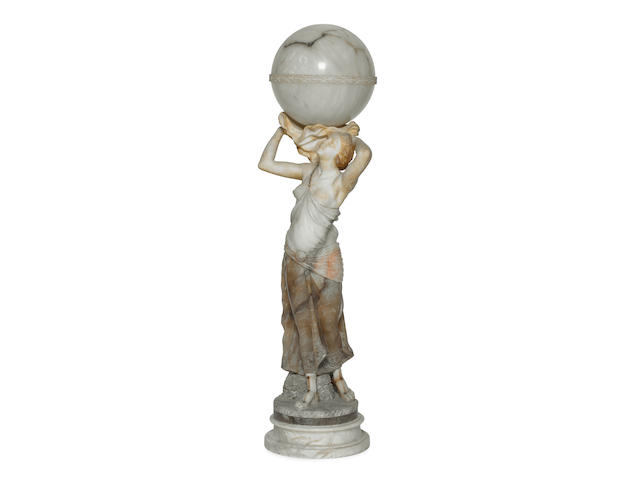 A monumental alabaster and marble figural light, circa 1920