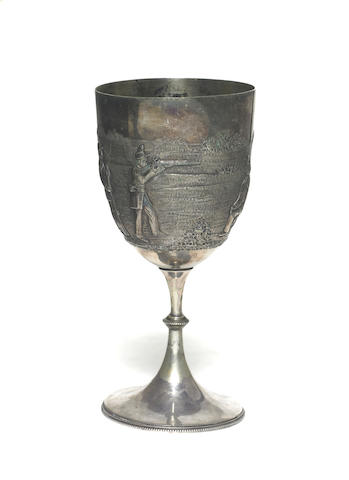 An Australian silver plate shooting trophy cup, circa 1883