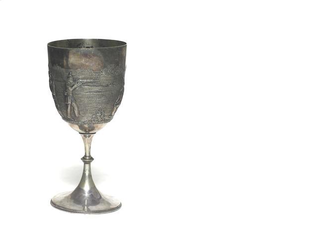 An Australian silver plate shooting trophy cup, circa 1883
