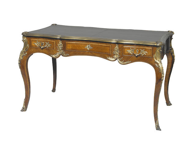 A Louis XV style gilt bronze mounted kingwood bureau platFrench, 19th century