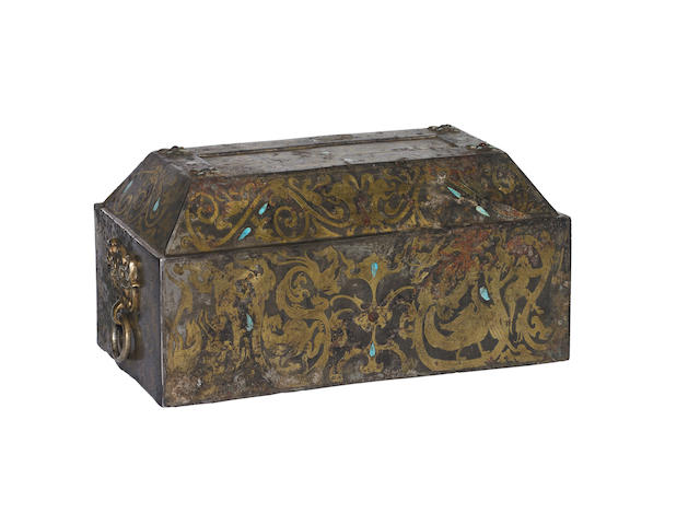 A Chinese Han-style etched and inlaid bronze box with cover