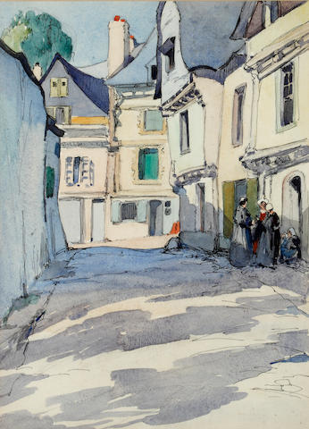 Iain MacNab (British, 1890-1967) Gossiping, Brittany, Auray; and Two Views of a Street in Auray, Brittany