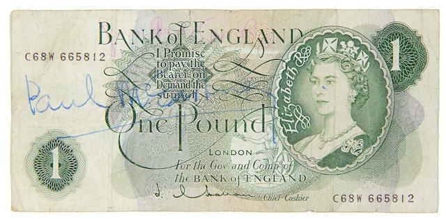 Paul McCartney: an autographed £1 note, 1960s,