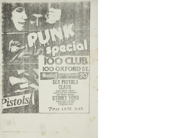 Sex Pistols: a flyer for the Punk Special, 100 Club, London, 20th September 1976,