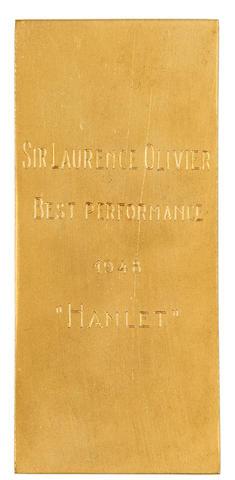 Laurence Olivier: a Cine-Revue award for 'Hamlet', 1948,