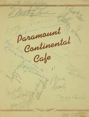 Various Film Stars: An autographed 'Paramount Continental Cafe' menu and photographs, 1940s,