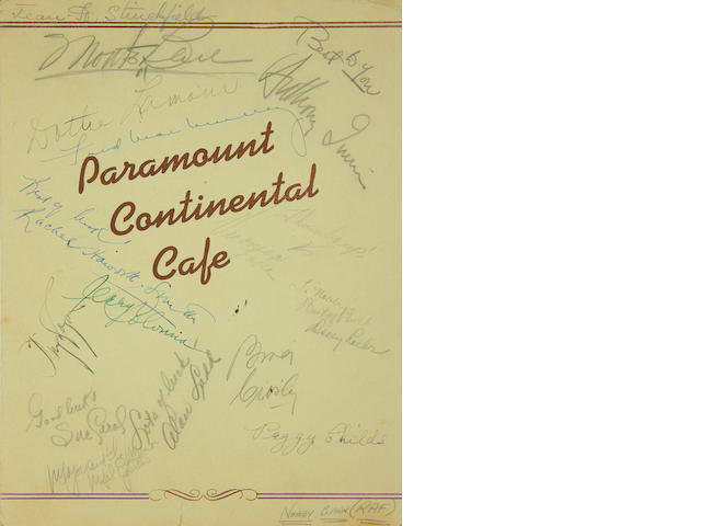 Various Film Stars: an autographed Paramount Continental Cafe menu and photographs, 1940s,
