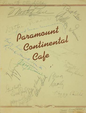 Various Film Stars: an autographed Paramount Continental Cafe menu and photographs, 1940s,