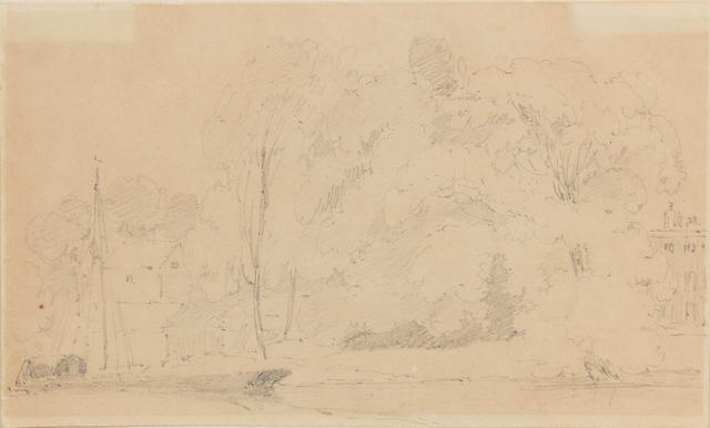 John Constable, R.A. (East Bergholt 1776-1837 London) A river landscape with a barge before barns, elms and ash trees, with a country house to the right unframed
