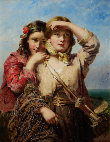 James John Hill (British, 1811-1882) The fisherman's daughters