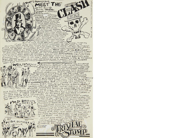 The Clash: six pages of original Ray Lowry US tour diary artwork for the New Musical Express, September-October 1979,