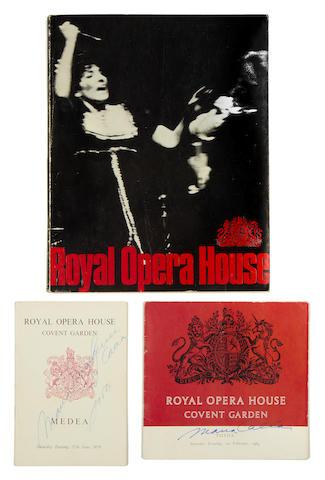 Maria Callas: Autographed Royal Opera House programmes,