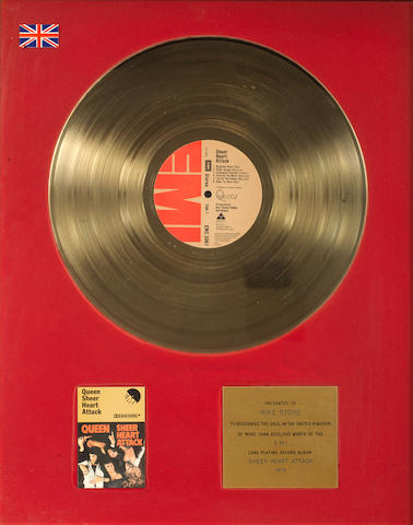 Queen: an EMI gold in-house award for the album 'Sheer Heart Attack',   1975, presented to Mike Stone,
