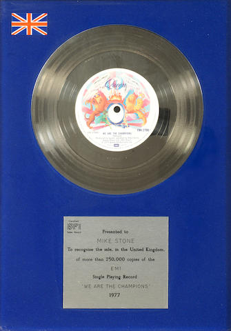 Queen: a BPI award for the single 'We Are The Champions',  1977, presented to Mike Stone,