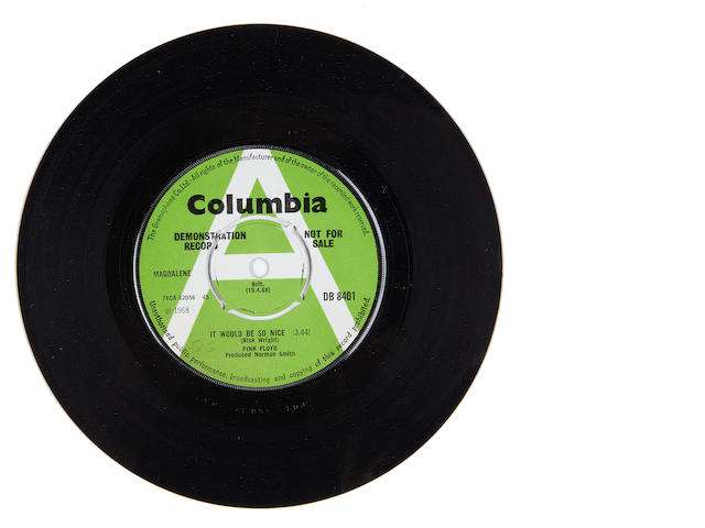 Pink Floyd: a demo pressing of the single 'It Would Be So Nice', 1968,