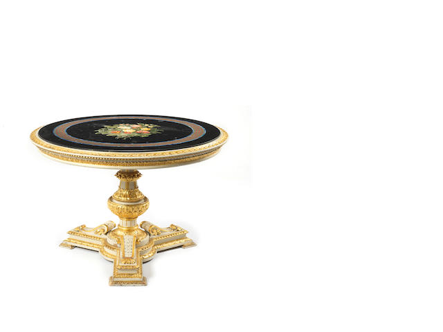 A fine Florentine mid-19th century pietre dure circular table top, set in an English giltwood and white painted basepossibly by George Morant & Sons