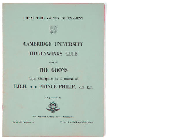 The Goons: an autographed Cambridge University Tiddlywinks Club 'Royal Tiddlywinks Tournament' programme, 1st March 1958,