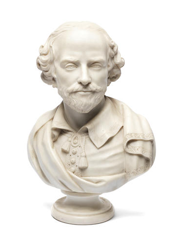 ***KB or BS????*** After Raphaelle Monti, late C19th British School - marble bust of Shakespeare