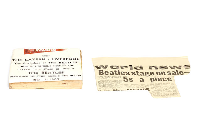 The Beatles: a piece of the Cavern Club stage and other Cavern/Beatles memorabilia, 1960s,