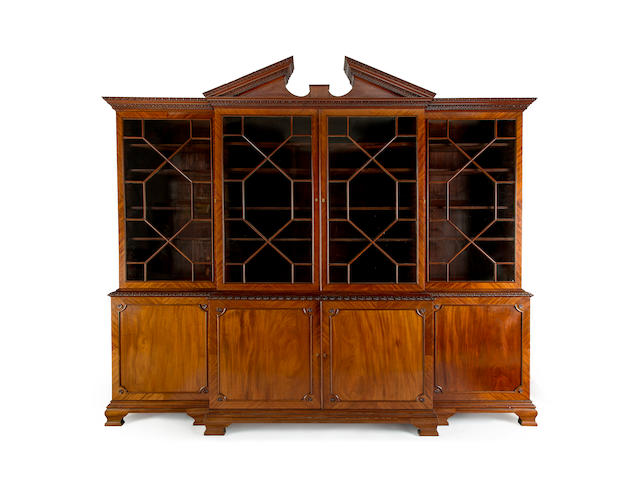 A George III style mahogany breakfront bookcaseEnglish, mid 19th century