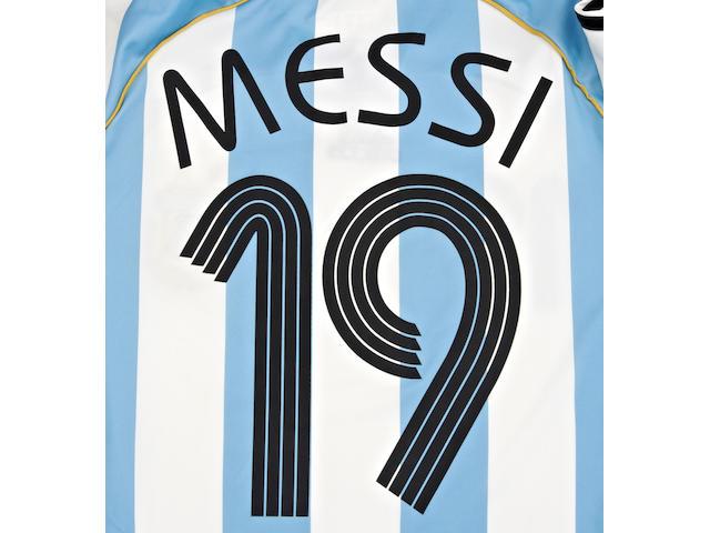 2006 World Cup Messi match worn Argentina shirt