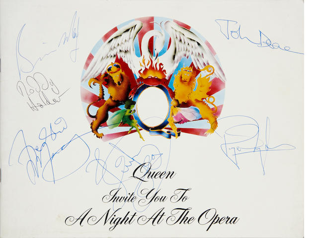 Queen: an autographed programme, 'A Night At The Opera' UK tour,  November/December 1975,