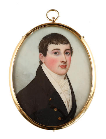 Frederick Buck (Irish, 1771-circa 1840) A Gentleman, wearing black coat, white waistcoat, concertinaed chemise and stock