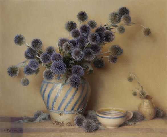 Charles Clement Francis Perron (French, 1893-1958) Still life with globe thistles in a vase