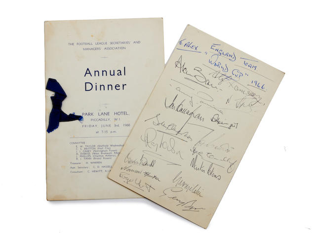 A hand signed menu & card - Football league secretaries & managers association Annual dinner, 1966 & West Indies Touring Team 1966