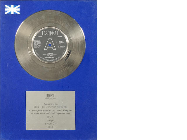David Bowie: A BPI Silver Award for the single 'Fashion', 1980,