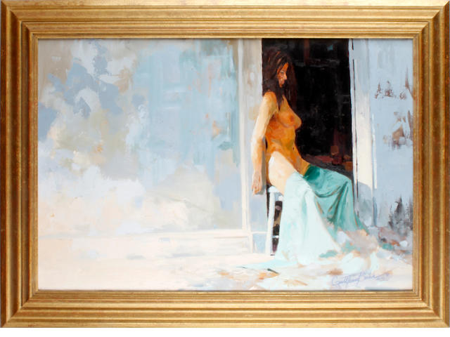 English School, 20th Century Portrait of a seated female nude in a doorway
