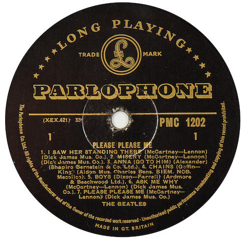 The Beatles: a black/gold label pressing of the album 'Please Please Me', 1963,