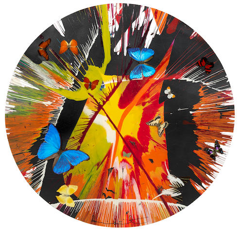 Damien Hirst (British, born 1965) Beautiful Cannibalistic Electofetish Fighting in the Lava Beds Who Got My Eyeball? Paper Spin Painting (with butterflies)
