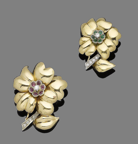 Three gem-set flower brooches (3) (partially illustrated)